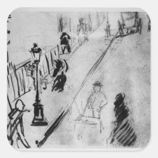 Manet | Rue Mosnier, c.1878 Quadratischer Aufkleber
