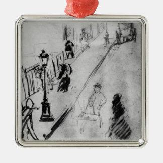 Manet   Rue Mosnier, c.1878 Quadratisches Silberfarbenes Ornament