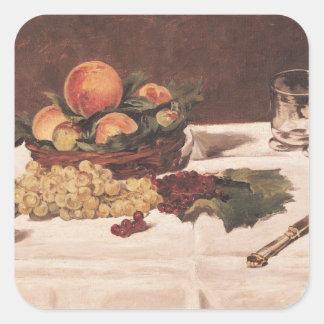 Manet | Stillleben: Frucht auf einer Tabelle, 1864 Quadratischer Aufkleber