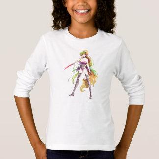 Manga Krieger-Frauen-weißer langer Hülsen-T - T-Shirt