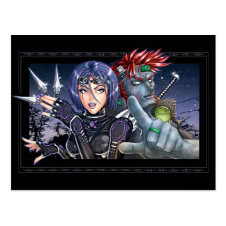 Manga Krieger Postkarte