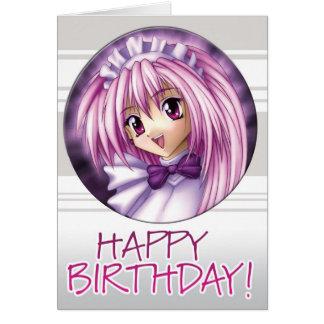 Manga Mädchen-Mädchen-Geburtstag Grußkarte