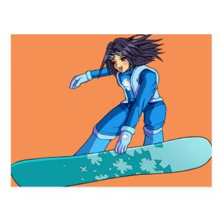 Manga Snowboarder-Mädchen Postkarte