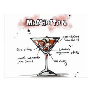 Manhattan-Getränk-Rezept-Entwurf Postkarte