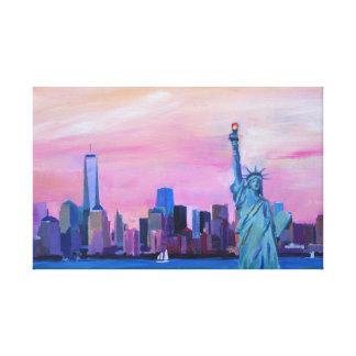 Manhattan-Skyline mit Freiheitsstatuen Leinwanddruck