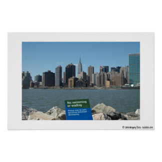 Manhattan-Skyline-Satiren-Plakat 16 x 11