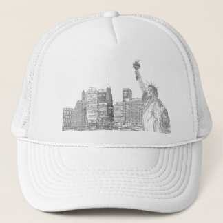 Manhattan-Skyline und das Freiheitsstatue Truckerkappe