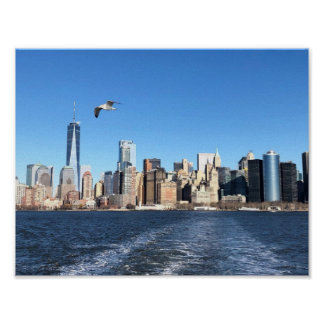 Manhattan-Skyline von der Fähre, New York City Poster