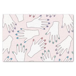 Manicured Handnagel-Studio-Rosa-Pastell-Muster Seidenpapier