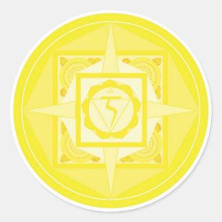 Manipura Chakra Mandala (Solarplexus Chakra) Runder Aufkleber