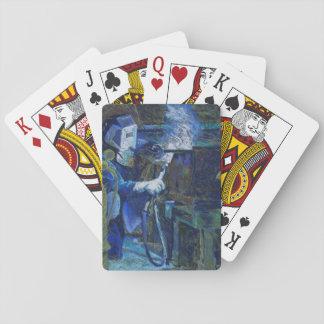 Mann bei der Arbeit Spielkarten