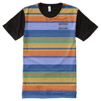 Mann-Blues-orange Gelb färbt gestreiften T - Shirt