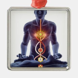 Mann chakras quadratisches silberfarbenes ornament
