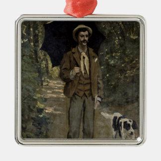 Mann Claude Monets | mit einem Regenschirm, Silbernes Ornament