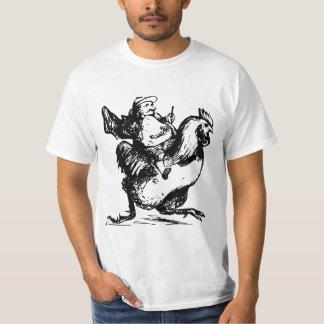 Mann, der auf einem Huhn läuft T-Shirt