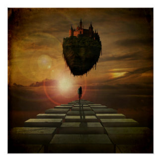 Mann, der in Richtung zum Schloss im Himmel geht Poster