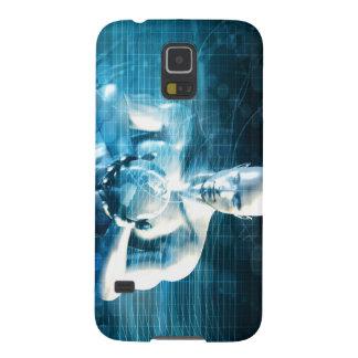 Mann, der Kugel mit Technologie-Industrie hält Galaxy S5 Cover