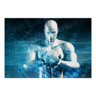 Mann, der Kugel mit Technologie-Industrie hält Poster