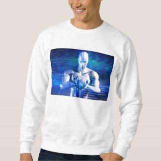 Mann, der Kugel mit Technologie-Industrie hält Sweatshirt