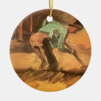 Mann, der mit Stock oder Spaten, Vincent van Gogh Keramik Ornament