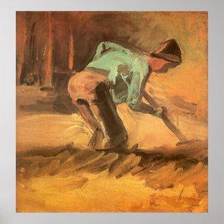 Mann, der mit Stock oder Spaten, Vincent van Gogh Poster