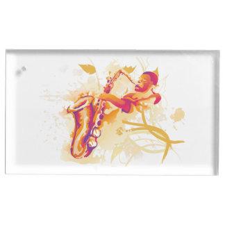 Mann, der tolle Saxophon-Aquarell-Art spielt Tischkartenhalter