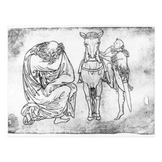 Mann gesetzt, Ritter, der sein Pferd anbringt Postkarte
