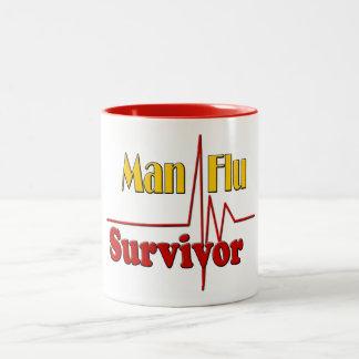 Mann-Grippe-Überlebend-Thema Zweifarbige Tasse