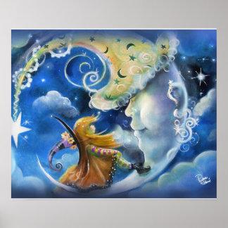Mann-in-d-Mond und Hexe Poster