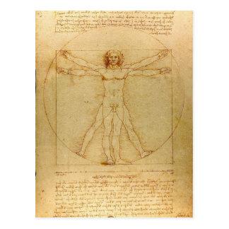 Mann Leonardo da Vincis Vitruvian Postkarte