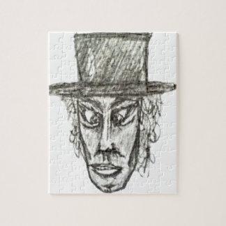 Mann mit dem Hut-Kopf-Bleistift, der Illustration Puzzle