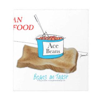 Mann-Nahrung Tonys Fernandess - Bohnen auf Toast Notizblock