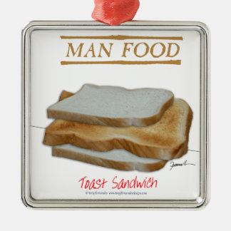 Mann-Nahrung Tonys Fernandess - Toastsandwich Silbernes Ornament