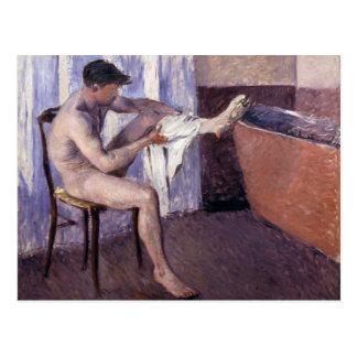 Mann-trocknendes Bein durch Caillebotte Postkarte