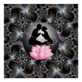 Mann-u. Frauen-Meditations-abstrakte rosa Poster