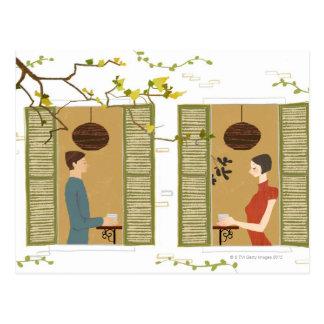 Mann-und Frauen-trinkender Kaffee Postkarte