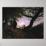 Mann und Frauhöhle Mond Betrachtend Poster