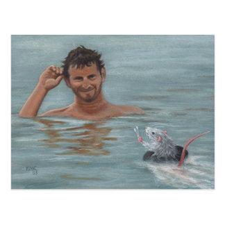 Mann- und Rattenschwimmen-Wattestäbchen Postkarte