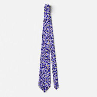 Männer blau und gelbe Fraktal-Muster-Krawatte Krawatte