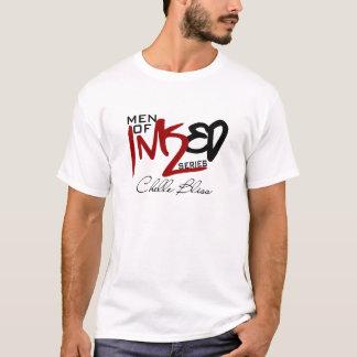Männer der mit Tinte geschwärzten weißen Kleidungs T-Shirt