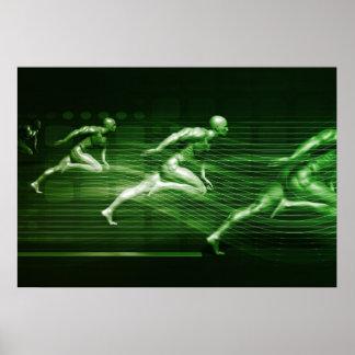 Männer, die auf Technologie-Hintergrund als Poster
