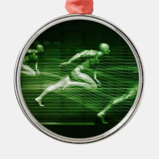 Männer, die auf Technologie-Hintergrund als Rundes Silberfarbenes Ornament