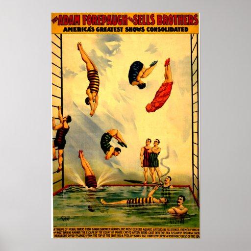 Männer, die in Pool-Vintages Zirkus-Plakat 1898 ta