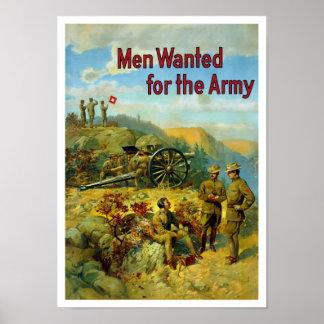 Männer gewollt für die Armee -- WW1 Poster