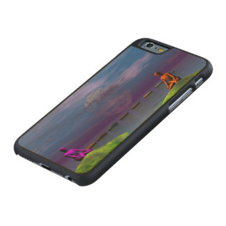Männer orange und lila und Hügel Carved® iPhone 6 Hülle Ahorn