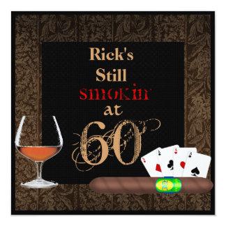 MÄNNER ' s-Geburtstag Zigarren, Poker und Quadratische 13,3 Cm Einladungskarte