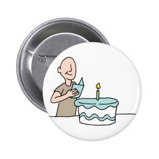 Mannlesegeburtstagskarte Runder Button 5,7 Cm