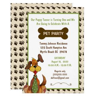 Männliche Haustier-Geburtstags-Party Einladung