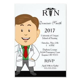 Männliche Krankenpflege-SchulAbschluss-Einladung 8,9 X 12,7 Cm Einladungskarte