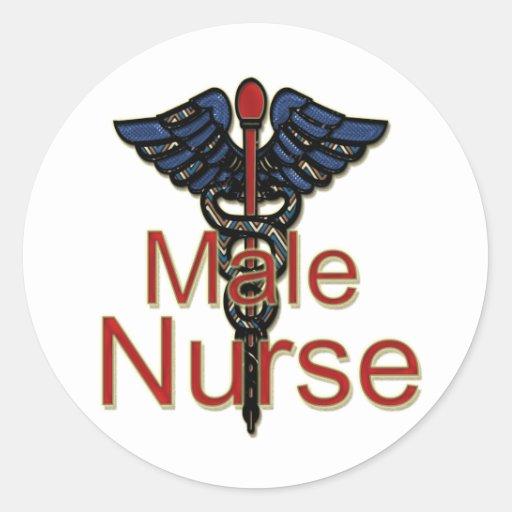 Männliche Krankenschwester mit Caduceus Runde Sticker